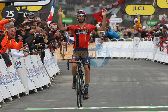 Vincenzo Nibali (ITA) Bahrain-Merida wins Stage 20 of the 2019 Tour de France running 59.5km from Albertville to Val Thorens, France. 27th July 2019.<br /> Picture: Colin Flockton | Cyclefile<br /> All photos usage must carry mandatory copyright credit (© Cyclefile | Colin Flockton)