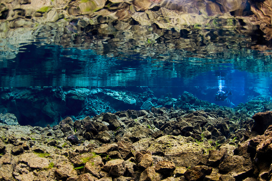 Diving, Silfra, Thingvellir lake, Thingvellir National Park, Iceland<br /> Model release by photographer