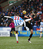17th March 2018, The John Smiths Stadium, Huddersfield, England; EPL Premier League football, Huddersfield Town versus Crystal Palace; James Tomkins of Crystal Palace and Collin Quaner of Huddersfield Town compete for the ball