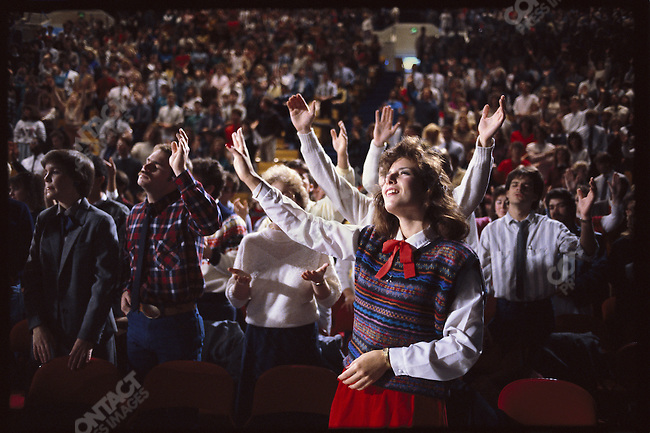 Students pray at Oral Roberts University, Tulsa, Oklahoma, USA, December 1986