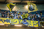 Solna 2015-07-26 Fotboll Allsvenskan AIK - IF Elfsborg :  <br /> Elfsborgs supportrar med flaggor under matchen mellan AIK och IF Elfsborg <br /> (Foto: Kenta J&ouml;nsson) Nyckelord:  AIK Gnaget Friends Arena Allsvenskan Elfsborg IFE supporter fans publik supporters