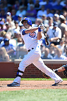 Chicago Cubs outfielder Justin Ruggiano (20) at bat during a game against the Milwaukee Brewers on August 14, 2014 at Wrigley Field in Chicago, Illinois.  Milwaukee defeated Chicago 6-2.  (Mike Janes/Four Seam Images)