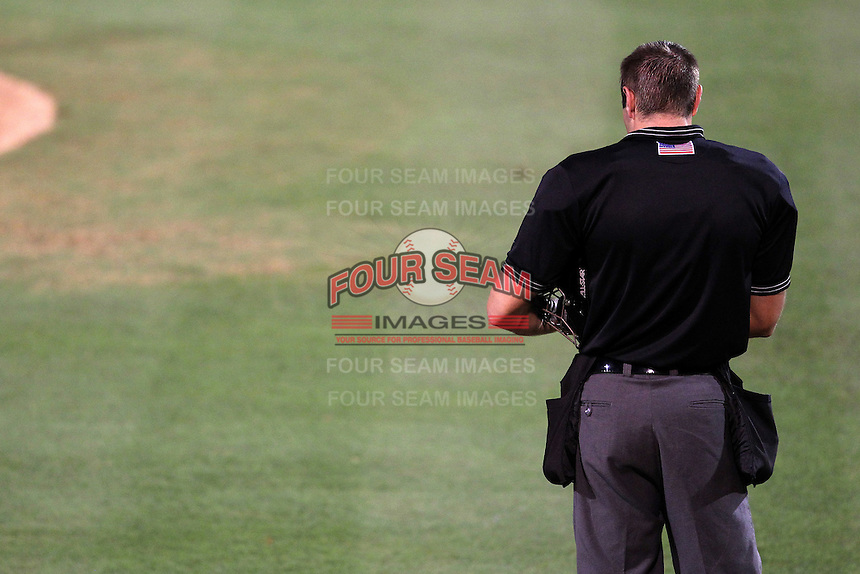 Home umpire Mario Seneca during a game between the Palm Beach Cardinals and Fort Myers Miracle at Roger Dean Stadium on May 2, 2012 in Jupiter, Florida.  Fort Myers defeated Palm Beach 2-1.  (Mike Janes/Four Seam Images)