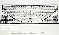 Longitudinal section diagram of the Colosseum, Rome 70 - 80 CE