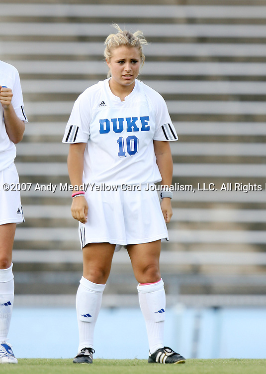 07 September 2007: Duke's CJ Ludemann. The Duke University Blue Devils defeated the Yale University Bulldogs 1-0 at Fetzer Field in Chapel Hill, North Carolina in an NCAA Division I Women's Soccer game, and part of the annual Nike Carolina Classic tournament.