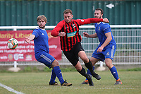Gavin Cockman of Saffron Walden evades Liam Burgess of Redbridge during Redbridge vs Saffron Walden Town, Essex Senior League Football at Oakside Stadium on 7th September 2019