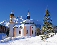 Austria, Tirol, Seefeld, famous Wintersport Resort with Seekirchl church