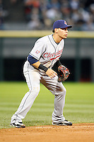 August 7, 2009:  Shortstop Asdrubal Cabrera (13) of the Cleveland Indians in the field during a game vs. the Chicago White Sox at U.S. Cellular Field in Chicago, IL.  The Indians defeated the White Sox 6-2.  Photo By Mike Janes/Four Seam Images