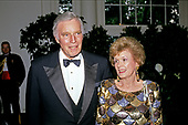 Actor, director, and author Charlton Heston and his wife, Lydia, arrive at the White House in Washington, DC for the State Dinner in honor of President Patricio Aylwin of the Republic of Chile on Wednesday, May 13, 1992.<br /> Credit: Ron Sachs / CNP