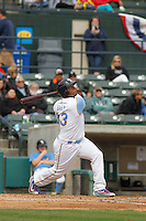 Myrtle Beach Pelicans outfielder Jeffery Baez (33) at bat during a game against the Frederick Keys at Ticketreturn.com Field at Pelicans Ballpark on April 10, 2016 in Myrtle Beach, South Carolina. Myrtle Beach defeated Frederick 7-5. (Robert Gurganus/Four Seam Images)