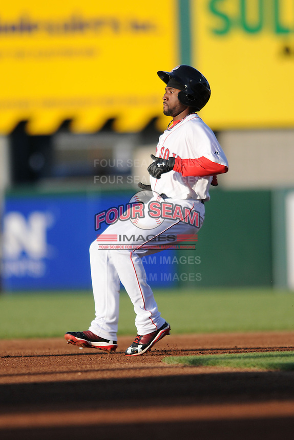 Pawtucket Red Sox outfielder Jackie Bradley Jr. #19  during a game versus the Scranton/Wilkes-Barre RailRiders at McCoy Stadium on August 25, 2013 in Pawtucket, Rhode Island. (Ken Babbitt/Four Seam Images)
