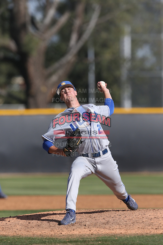 Kyle Nelson (29) of the UC Santa Barbara Gouchos pitches during a game against the Cal State Northridge Matadors at Matador Field on April 10, 2015 in Northridge, California. UC Santa Barbara defeated Cal State Northridge, 7-4. (Larry Goren/Four Seam Images)