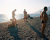 CROATIA, Bol, Brac, Dalmatian Coast, people relaxing on Zlatni Rat beach