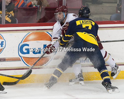 Austin Cangelosi (BC - 9), Jonathan Lashyn (Merrimack - 7) - The visiting Merrimack College Warriors defeated the Boston College Eagles 6 - 3 (EN) on Friday, February 10, 2017, at Kelley Rink in Conte Forum in Chestnut Hill, Massachusetts.