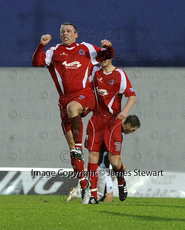 10/01/2009  Copyright Pic: James Stewart.File Name : sct_jspa04_falkirk_v_qots.BARRY WILSON CELEBRATES AFTER HE SCORES QUEEN OF THE SOUTH'S FIRST.James Stewart Photo Agency 19 Carronlea Drive, Falkirk. FK2 8DN      Vat Reg No. 607 6932 25.Studio      : +44 (0)1324 611191 .Mobile      : +44 (0)7721 416997.E-mail  :  jim@jspa.co.uk.If you require further information then contact Jim Stewart on any of the numbers above.........