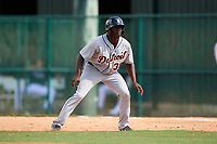 Detroit Tigers Daz Cameron (38) leads off first base during an Instructional League game against the Atlanta Braves on October 10, 2017 at the ESPN Wide World of Sports Complex in Orlando, Florida.  (Mike Janes/Four Seam Images)