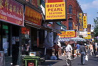 Chinatown, Toronto, Canada, Ontario, Shops and restaurants in Chinatown along Spadina Avenue in downtown Toronto.