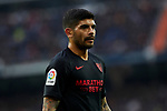 Ever Banega of Sevilla FC during La Liga match between Real Madrid and Sevilla FC at Santiago Bernabeu Stadium in Madrid, Spain. January 18, 2020. (ALTERPHOTOS/A. Perez Meca)