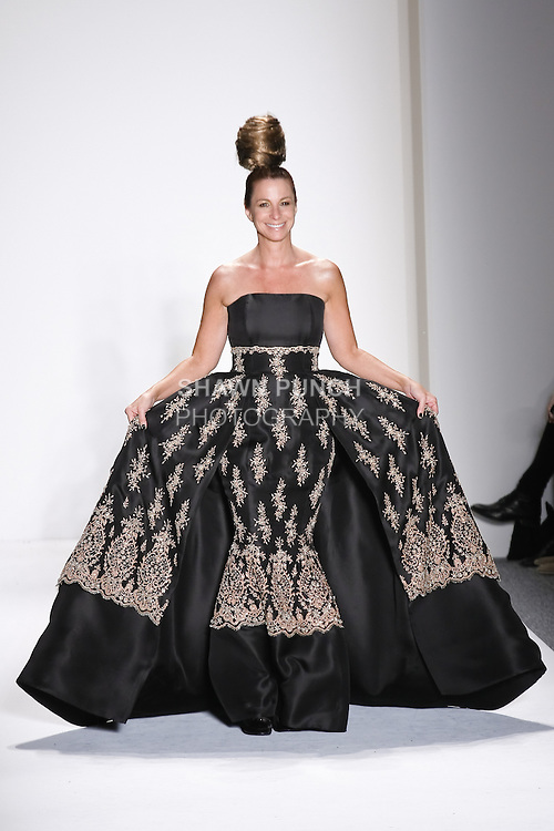 Jill Zarin walks runway in a black silk gazar strapless ballgown w/nude beaded french lace encrusted w/crystals, from the Zang Toi Fall 2011 Timeless Beauties collection, during Mercedes-Benz Fashion Week Fall 2011.