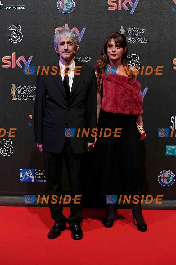 Sergio Rubini e Carla Cavalluzzi <br /> Roma 27-03-2017. Premio David di Donatello 2017.<br /> Rome March 27th 2017. David di Donatello ceremony 2017. <br /> Foto Samantha Zucchi Insidefoto