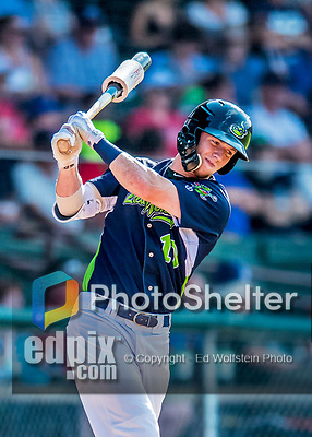 16 July 2017: Vermont Lake Monsters outfielder Greg Deichmann, a 10th round draft pick for the Oakland Athletics, in action against the Auburn Doubledays at Centennial Field in Burlington, Vermont. The Monsters defeated the Doubledays 6-3 in NY Penn League action. Mandatory Credit: Ed Wolfstein Photo *** RAW (NEF) Image File Available ***