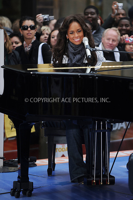 WWW.ACEPIXS.COM . . . . . ....April 21 2008, New York City....R and B artist Alicia Keys performed on the 'Today' show at the Rockefeller Plaza in midtown Manhattan.....Please byline: KRISTIN CALLAHAN - ACEPIXS.COM.. . . . . . ..Ace Pictures, Inc:  ..(646) 769 0430..e-mail: info@acepixs.com..web: http://www.acepixs.com