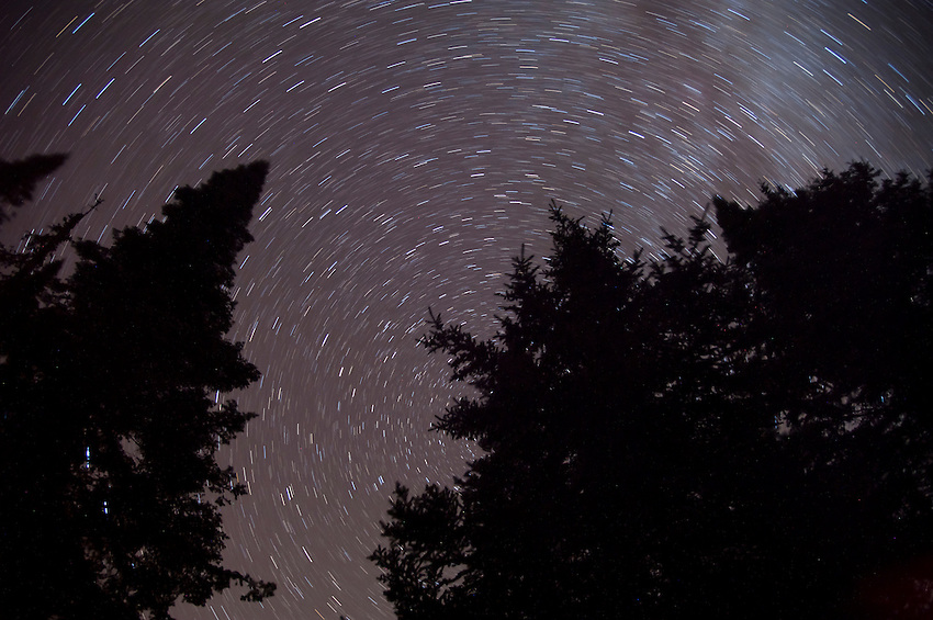 Star trails above a backcountry campsite at Isle Royale National Park.