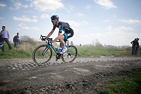 Andrew Fenn (GBR/SKY) in sector 14: Tilloy &agrave; Sars-et-Rosi&egrave;res (2.4km)<br /> <br /> 113th Paris-Roubaix 2015