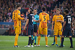 Atletico de Madrid's Filipe Luis and Augusto Fernandez and FC Barcelona Gerard Pique, Sergio Busquets and Ivan Rakitic during Champions League 2015/2016 Quarter-Finals 2nd leg match. April 13, 2016. (ALTERPHOTOS/BorjaB.Hojas)