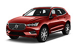 2018 Volvo XC60 Inscription T8 eAWD Plug-in Hybrid 5 Door SUV angular front stock photos of front three quarter view