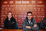 Last year's winners Tiesj Benoot (BEL) Lotto-Soudal and World Champion Anna Van der Breggen (NED) Boels Dolmans press conference ahead of the 2019 Strade Bianche running 184km from Siena to Siena, held over the white gravel roads of Tuscany, Italy. 8th March 2019.<br /> Picture: LaPresse/Gian Mattia D'Alberto | Cyclefile<br /> <br /> <br /> All photos usage must carry mandatory copyright credit (&copy; Cyclefile | LaPresse/Gian Mattia D'Alberto)