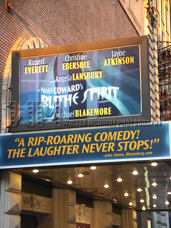 "Theatre Marquee for the final performance  of ""BLITHE SPIRIT"" at the Shubert Theatre in New York City..July 19, 2009.© Walter McBride /  ."