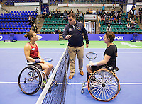 Rotterdam, Netherlands, December 20, 2015,  Topsport Centrum, Lotto NK Tennis, KNLTB, Wheelchait womans single final: The Umpire does the toss, Left Marjolijn Buis and right Aniek van Koot (NED)<br /> Photo: Tennisimages/Henk Koster