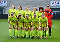 20170513 - MECHELEN , BELGIUM : Gent's line up pictured with Nicky Evrard , Elien Van Wynendaele , Margaux Van Ackere , Shari Van Belle , Chloe Vande Velde , Kassandra Missipo , Marie Minnaert , Chloe Van Mingeroet , Elke Van Gorp , Jody Vangheluwe and Silke Vanwynsberghe  during the final of Belgian cup 2017 , a womensoccer game between RSC Anderlecht and KAA Gent Ladies , in the AFAS stadion in Mechelen , saturday 13 th Mayl 2017 . PHOTO SPORTPIX.BE | BELGA |  DAVID CATRY
