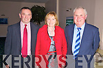 At the Dromid Pierces GAA Social in The Waterville Lake Hotel on Saturday night last were l-r; John O'Sullivan(Chairman), Eileen Donnelly & Michael Sheehan.