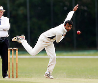 Tapan Patel bowls for Wembley during the Middlesex Cricket League Division Two game between Brondesbury and Wembley at Harman Drive, London on Sat Aug 1, 2015