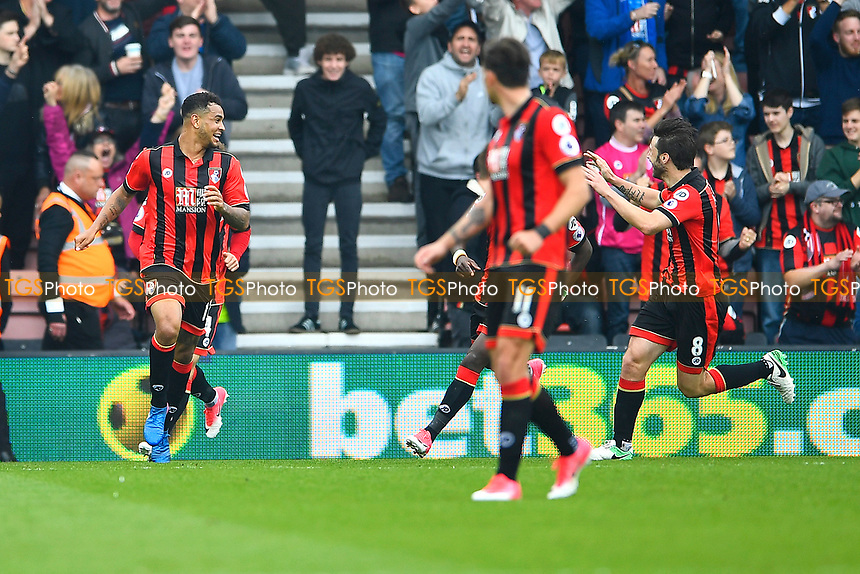Joshua King of AFC Bournemouth left celebrates scoring to make the score 2-2 during AFC Bournemouth vs Stoke City, Premier League Football at the Vitality Stadium on 6th May 2017