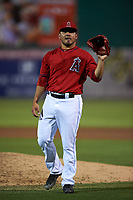Inland Empire 66ers relief pitcher Carlos Salazar (35) during a California League game against the Lancaster JetHawks at San Manuel Stadium on May 18, 2018 in San Bernardino, California. Lancaster defeated Inland Empire 5-3. (Zachary Lucy/Four Seam Images)