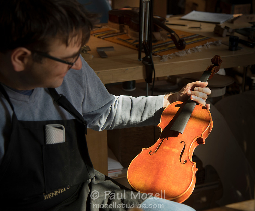 Violin Making & repair Department Head Roman Barnas at the North Bennett Street School in Boston.