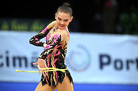 Alina Maksymenko of Ukraine performs with rope at 2009 World Cup at Portimao, Portugal on April 17, 2009.  (Photo by Tom Theobald).