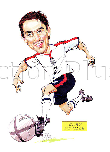 Caricature of England defender GARY NEVILLE drawn by Bob Bond a Cartoonist and picture-strip artist with a lifetime of experience in illustrating football and other sporting subjects. Mandatory Credit: Bob Bond/actionplus...drawing cartoon funny funnies humour humorous amusing