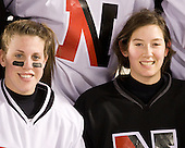 Lindsay Berman (NU - 13), Siena Falino (NU - 18) - The Northeastern University Huskies practice on the ice at Fenway Park on Thursday, January 7, 2010, in Boston, Massachusetts.