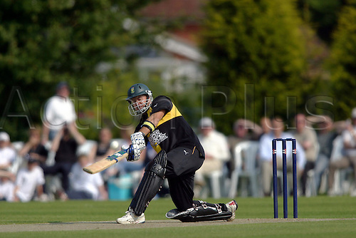 7 June 2005: South African batsman Herschelle Gibbs batting during Lashings innings in their Twenty20 Challenge match against Sussex CCC at East Grinstead Sports Club, Sussex. Photo: Glyn Kirk/Actionplus..050607 slog sweep