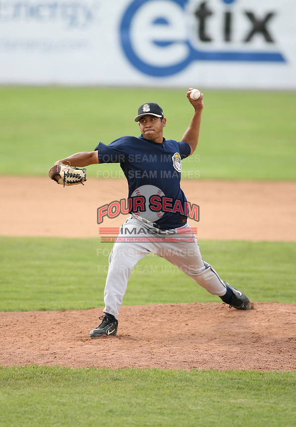 Mark Rodrigues of the Mahoning Valley Scrappers, Class-A affiliate of the Cleveland Indians, during the New York-Penn League season.  Photo by:  Mike Janes/Four Seam Images