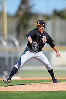 Mercer Bears pitcher Grant Papelian #25 during a game against the Notre Dame Fighting Irish at the Buck O'Neil Complex on February 17, 2013 in Sarasota, Florida.  Mercer defeated Notre Dame 5-4.  (Mike Janes/Four Seam Images)