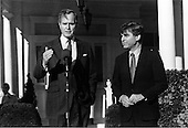 United States President-elect George H.W. Bush makes a statement during a visit by Governor Michael Dukakis (Democrat of Massachusetts), the Democratic Party nominee for US President, at the Vice President's home in Washington, DC on December 2, 1988.<br /> Credit: White House via CNP