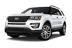 Stock pictures of low aggressive front three quarter view of 2017 Ford Explorer Sport 5 Door Suv Low Aggressive