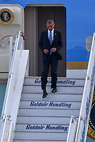 Pictured: US President Barack Obama descends the steps of Air Force One at the Eleftherios Venizelos Airport in Athens, Greece. Tuesday 15 November 2016<br /> Re: US President Barack Obama state visit to Greece