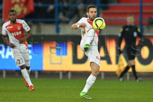 04.03.2016. Caen, France. French League 1 football. Caen versus Monaco.  JOAO MOUTINHO (mon) brings down a high ball
