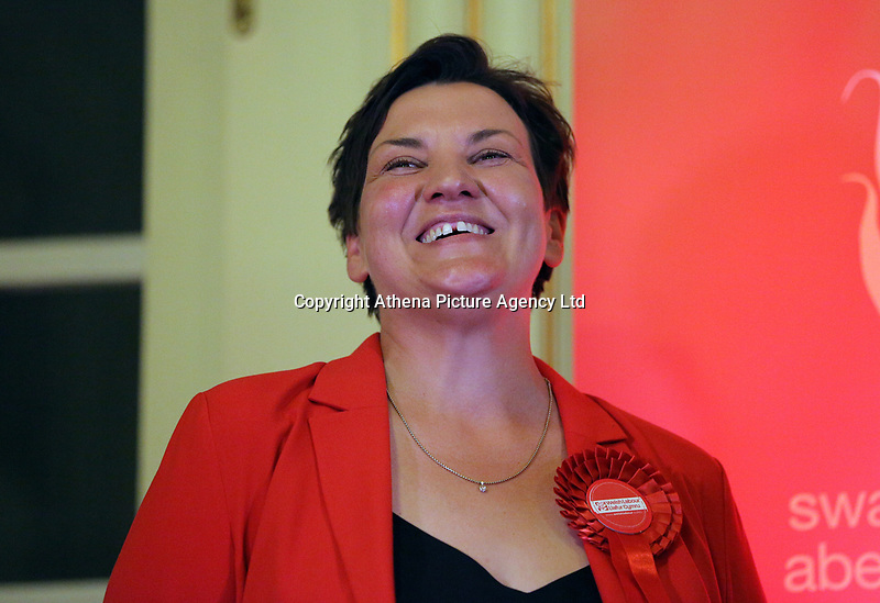 Pictured: Labour candidate Tonia Antoniazzi. Friday 09 June 2017<br /> Re: Counting of ballots at Brangwyn Hall for the general election in Swansea, Wales, UK